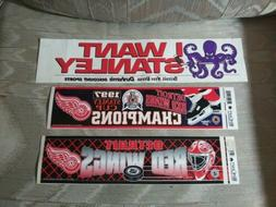 3 Detroit Red Wings Hockey Bumper Stickers NHL Stanley Cup C