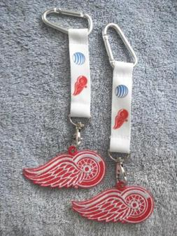 BRAND NEW LOT OF 2 DETROIT RED WINGS KEYCHAINS