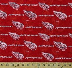 Cotton Detroit Red Wings NHL Hockey Sports Team Red Fabric P