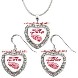 Detroit Red Wings 925 Necklace / Earrings or Set Team Heart