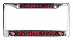 Detroit Red Wings Carbon Fiber Laser Frame Chrome Metal Lice