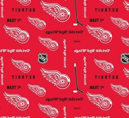 """Detroit Red Wings Cotton Fabric 22"""" X 43"""""""