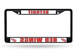 Detroit Red Wings Custom BLACK Metal Frame Chrome License Pl