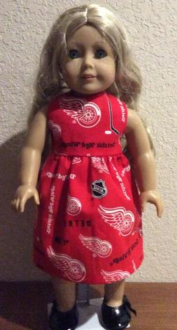 Detroit Red Wings Dress for 18 Inch American Girl Doll FREE