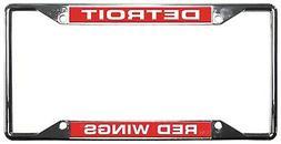 Detroit Red Wings EZ View LASER FRAME Chrome Metal License P