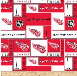 """detroit red wings fabric 10""""x43"""" cotton GOOD FOR MASKS next"""