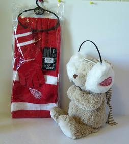 DETROIT RED WINGS GLOVE AND SCARF SET AND EARMUFFS FROM LITT