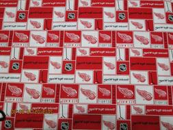 DETROIT RED WINGS HOCKEY FABRIC 1/2 YD PIECE BRAND NEW SQUAR