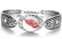 Detroit Red Wings Hockey Fan Gift Women's Sterling Silver Br