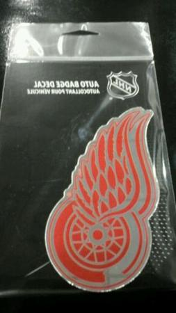 """DETROIT RED WINGS MIRRORED AUTO BADGE CAR EMBLEM DECAL 3""""×5"""
