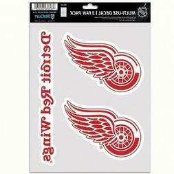 Detroit Red Wings Multi Use Fan 3 Pack Decal Set  NHL Sticke