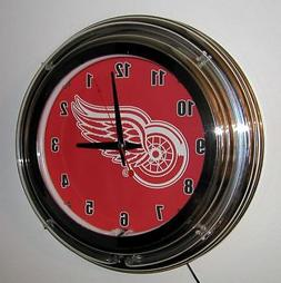 Detroit Red Wings Neon Wall Clock Brand New