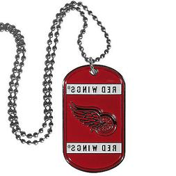 """detroit red wings nhl hockey necklace dog tag 26"""" chain"""