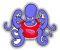 Detroit Red Wings NHL Hockey Octopus  Car Bumper Sticker  -