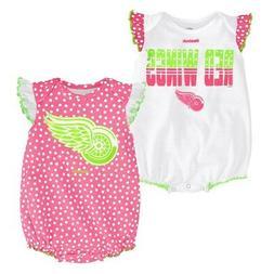 """Detroit Red Wings NHL Reebok Infant Pink/White """"Polka Fan"""" 2"""