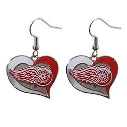 Detroit Red Wings Swirl Heart Earring NHL Dangle Logo Charm