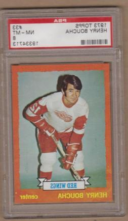 Henry Boucha 1974-75 Topps Rookie card #33-Graded 8 NM-MT-De