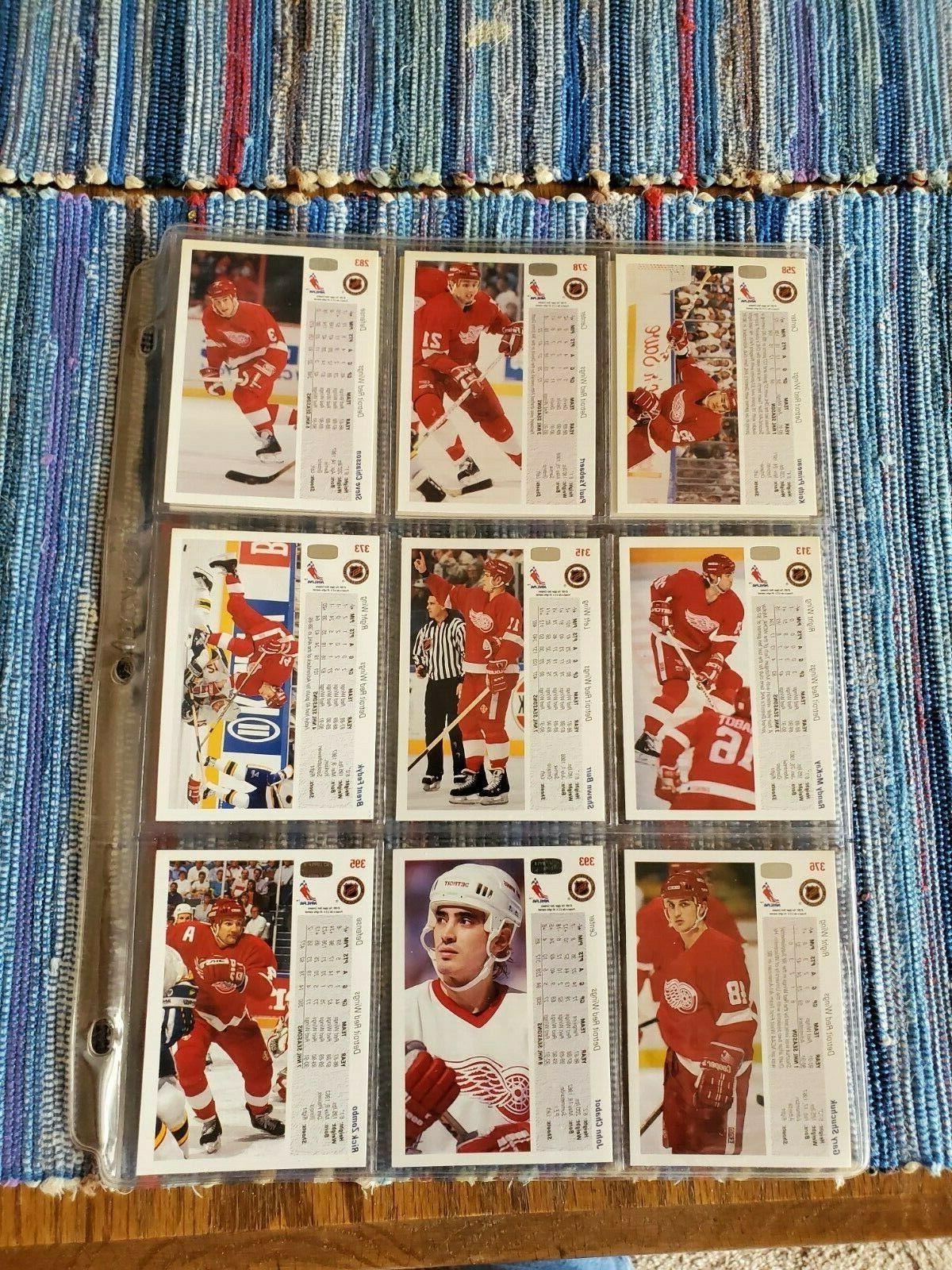 1991-92 Red Wings Hockey Mint cards in sleeves