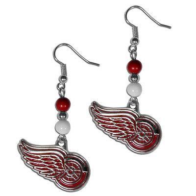 detroit red wings dangle earrings fan bead
