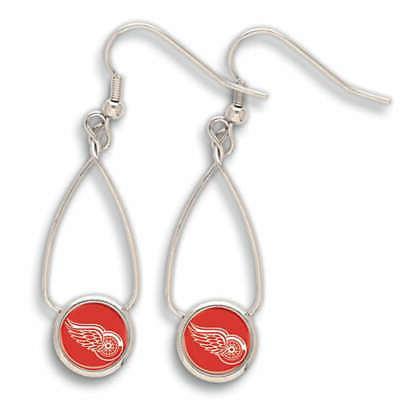 detroit red wings french loop earrings nhl