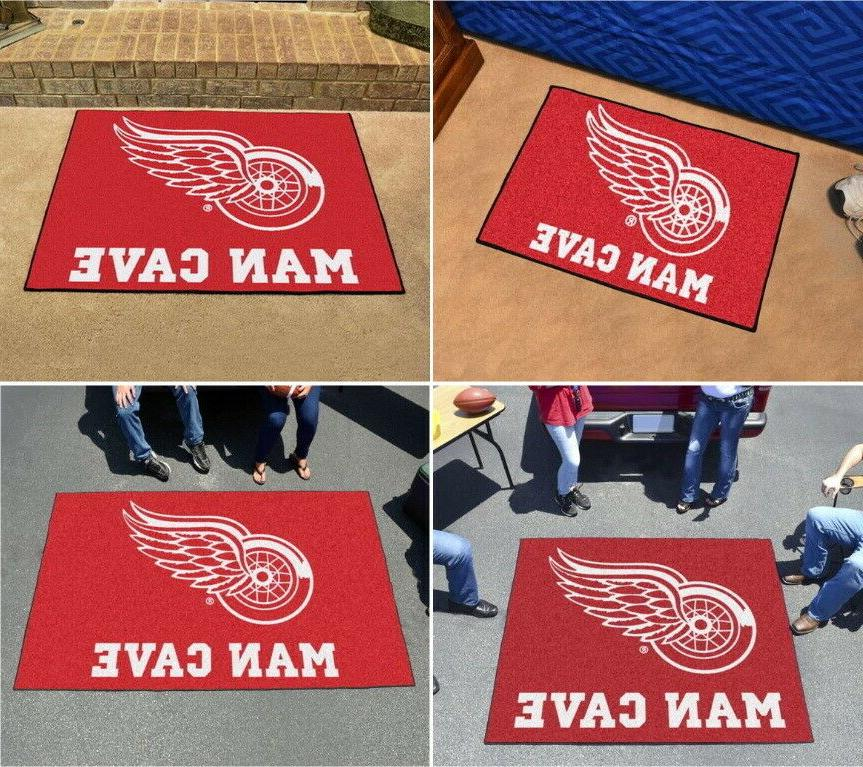 detroit red wings man cave area rug