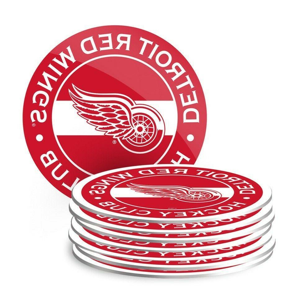 detroit red wings nhl team logo coasters