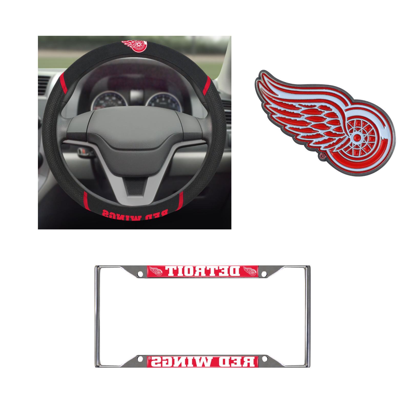 detroit red wings steering wheel cover license