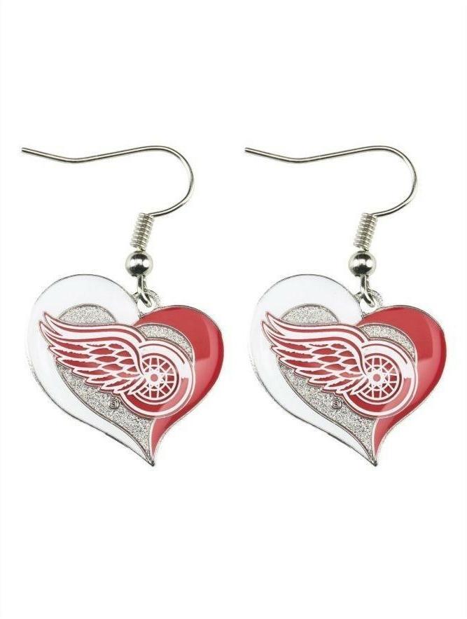 detroit red wings swirl heart logo dangle