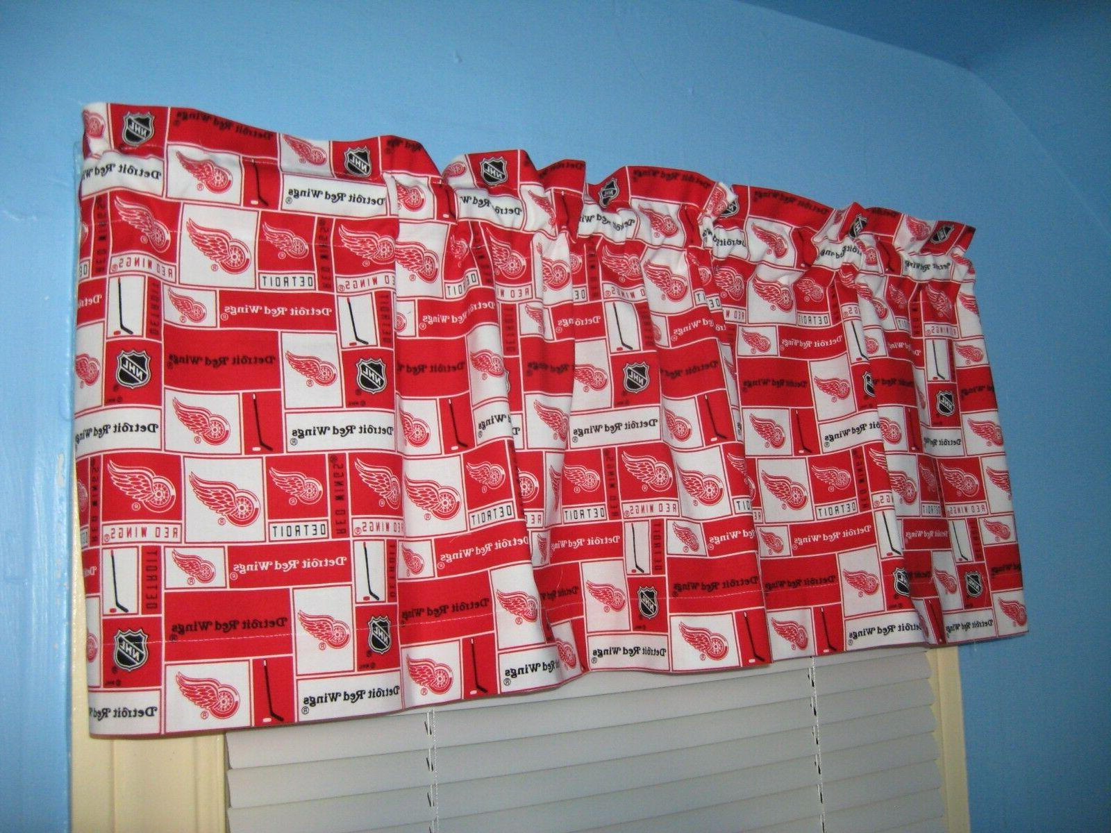 Handmade 100% Detroit Red Wings Red White Window Curtain