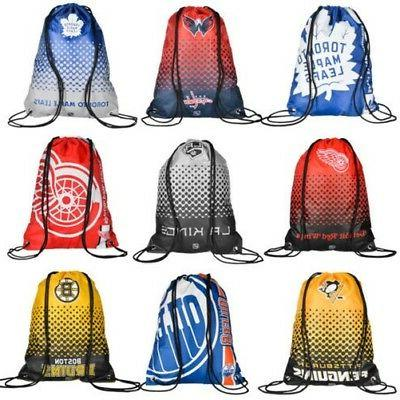 nhl ice hockey drawstring gym bag backpack