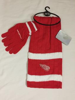 New NHL Detroit Red Wings Knit Scarf Glove Gift Set One Size