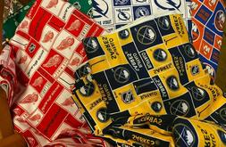 NHL COTTON Fabric 1/4 yard piece, 9 inches X 42 inches ---Ch