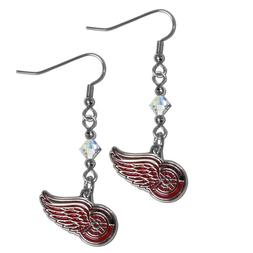 NHL Detroit Red Wings Crystal Dangle Earrings Set J Hook Cha