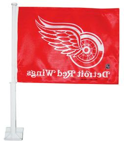 NHL Detroit Red Wings Hockey Car Flag, Red & White