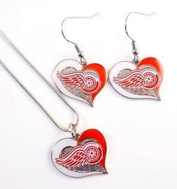 nhl detroit red wings necklace earrings team