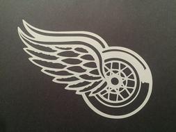 NHL DETROIT RED WINGS WHITE VINYL STICKER / DECAL