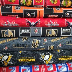 "NHL HOCKEY Cotton Fabric By The 1/4 YARD  - "" PICK TEAM "" -"