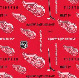 NHL Detroit Red Wings Red Cotton Fabric, Sykel Enterprises,