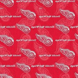 NHL Hockey Detroit Red Wings Logos and Names Red Cotton Fabr