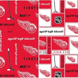 NHL Ice Hockey Detroit Red Wings Prints Cotton Fabric BY The