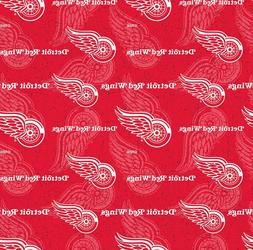 NHL Ice Hockey Detroit Red Wings Tone on Tone 100% Cotton Fa