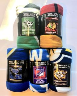 "NHL SOFT FLEECE THROW 50""x 60"" STADIUM BLANKET NEW HOCKEY -"