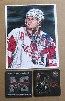 Red Wings Bob Probert 8x10 Litho with 2 Probie coasters